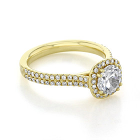 evertrue Yellow Gold Halo Engagement Ring (EV105-Y)