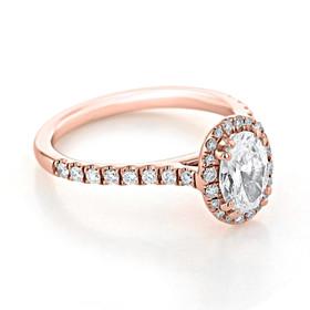 Rose Gold Halo Moissanite Engagement Ring (EV14-OV-M)