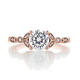 1.00 Ct. Round Moissanite Rose Gold Pavé Engagement Ring (FG57-M)
