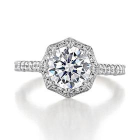 2.00 Ct. Round Moissanite Platinum Tacori Petite Crescent Engagement Ring (HT2555RD8-M)