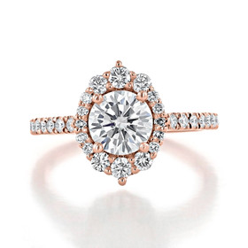 1.00 Ct. Round Moissanite Rose Gold Halo Micro-Prong Engagement Ring (CR25-M)