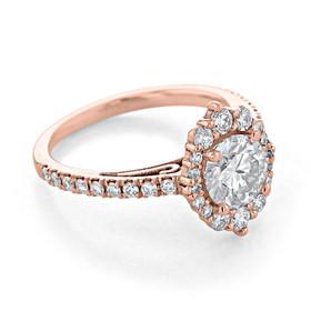 Rose Gold Moissanite Halo Engagement Ring (CR25-M)