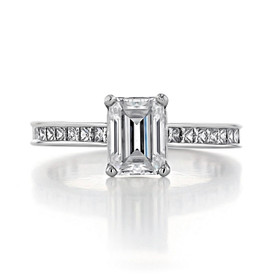 1.00 Ct. Emerald Cut Moissanite Channel-Set Engagement Ring (CR117-M)