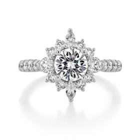 1 ct Round Gabriel Halo White Gold Engagement Ring (ER14450)