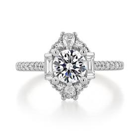 1 ct Round Gabriel Halo White Gold Engagement Ring (ER14508)