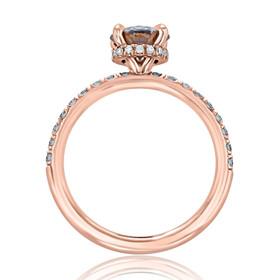 Rose Gold Grey Moissanite Engagement Ring (CR19)