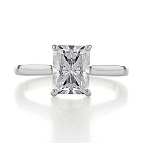 2.70 Ct. Radiant Cut Moissanite White Gold Solitaire Engagement Ring (SO71-M)