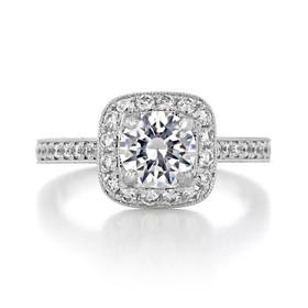Halo Pavé Engagement Ring (CR68B)