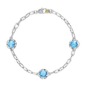 Crescent Crown Swiss Blue Topaz Fashion Bracelet (SB22145)