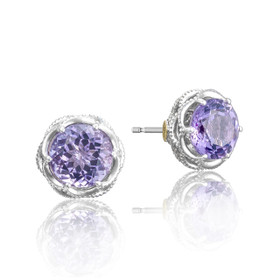 Crescent Crown Amethyst Fashion Earrings (SE10501)