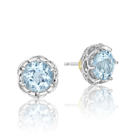 Crescent Crown Sky Blue Topaz Fashion Earrings (SE10502)