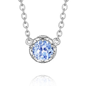 Crescent Crown Swiss Blue Topaz Fashion Necklace (SN23645)