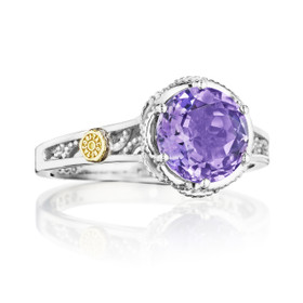 Crescent Crown Petite Amethyst Fashion Ring (SR22801)