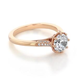 Simply Tacori Moissanite Rose Gold Engagement Ring (2653RD7PK-M)