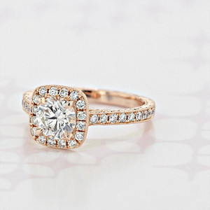 Engraved Halo Round Shape Diamond Engagement Ring (2004908)
