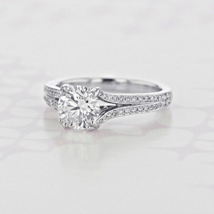 Gabriel NY Split Ring Body Round Shape Lab Diamond Engagement Ring (2006110)