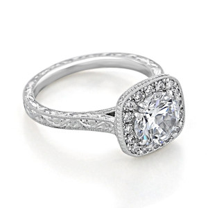 evertrue Engraved Halo Engagement Ring (EV58-ED)