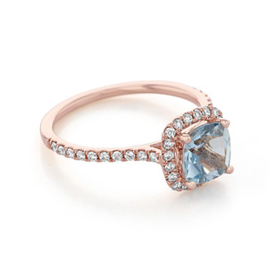 Rose Gold Aquamarine Engagement Ring (R1034-4)