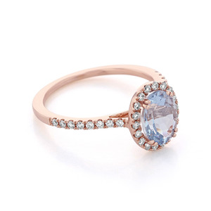 Rose Gold Aquamarine Engagement Ring (R0861-4AQ)