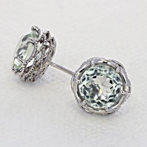Crescent Crown Prasiolite Quartz Fashion Earrings  (SE10512)