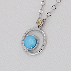Gemma Bloom Neo-Turquoise Fashion Necklace (SN14005)