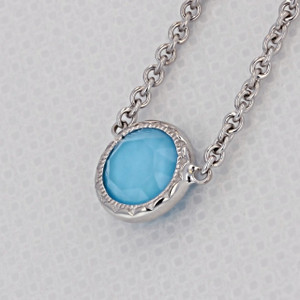 Crescent Embrace Petite Neo-Turquoise Fashion Necklace (SN15405)