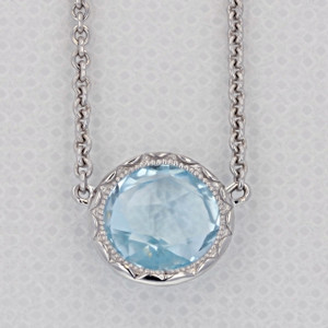 Crescent Embrace Sky Blue Topaz Fashion Necklace (SN15302)