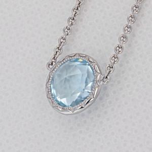Crescent Embrace Sky Blue Topaz Fashion Necklace (SN15302)