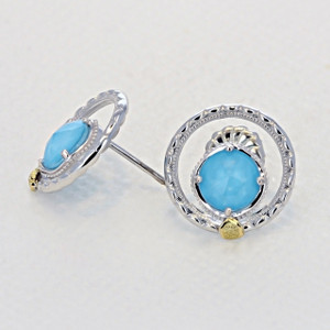 Gemma Bloom Neo-Turquoise Fashion Earrings (SE14005)