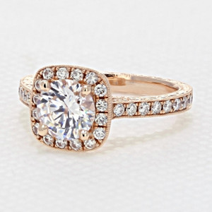 Engraved Rose Gold Halo Engagement Ring (CR68R)