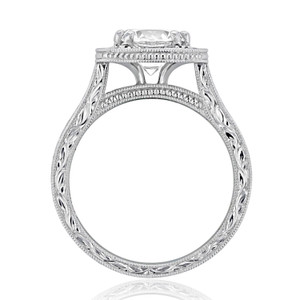evertrue Engraved Halo Engagement Ring (EV58)