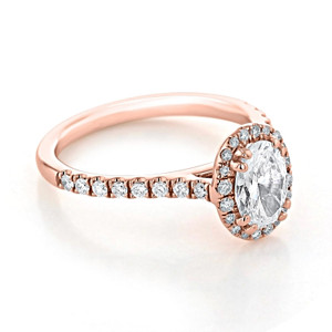 Rose Gold Halo Moissanite Engagement Ring (EV14-OV-M)