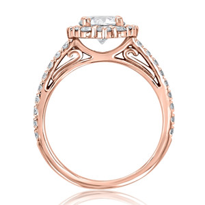 Rose Gold Moissanite Halo Engagement Ring (CR25-M)