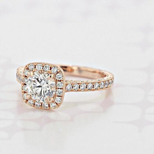Engraved Halo Round Shape Diamond Engagement Ring (2004908)