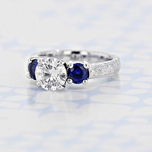 Engraved Three-Stone Round Shape Moissanite Engagement Ring (2006326)