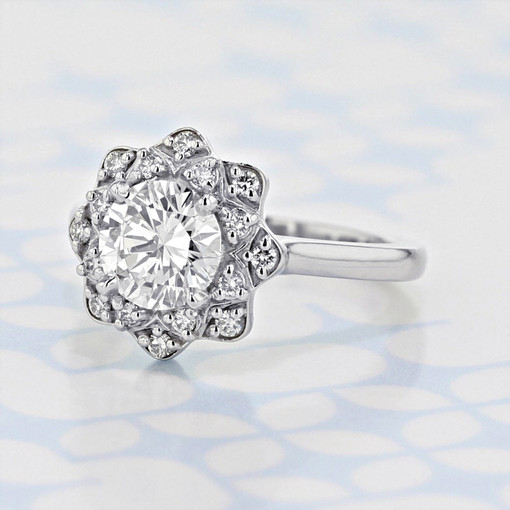 Floral Halo Round Shape Diamond Engagement Ring (2006252)