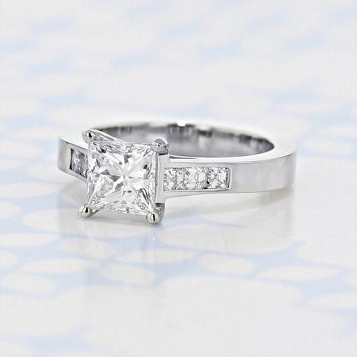 Channel Princess Shape Diamond Engagement Ring (2006289)