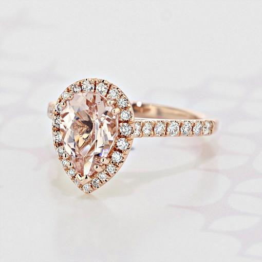 Halo Pear Shape Morganite Engagement Ring (2006054)