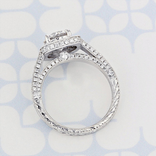 Engraved Halo Round Shape Lab Diamond Engagement Ring (2006073)
