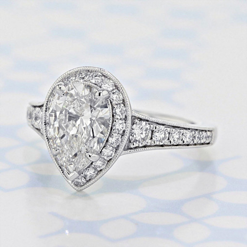 Gabriel NY Halo Pear Shape Lab Diamond Engagement Ring (2006292)