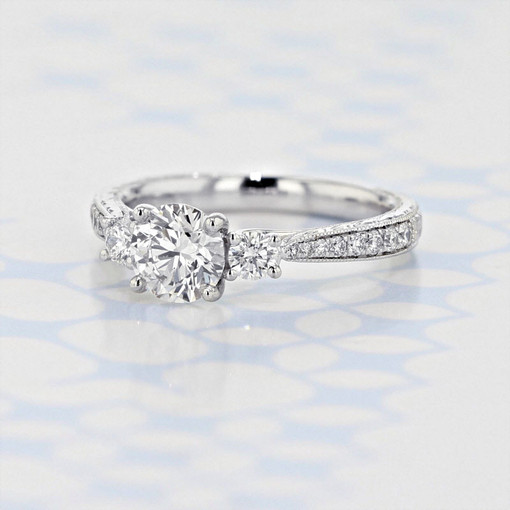 Gabriel NY Engraved Three-Stone Round Shape Lab Diamond Engagement Ring (2006361)