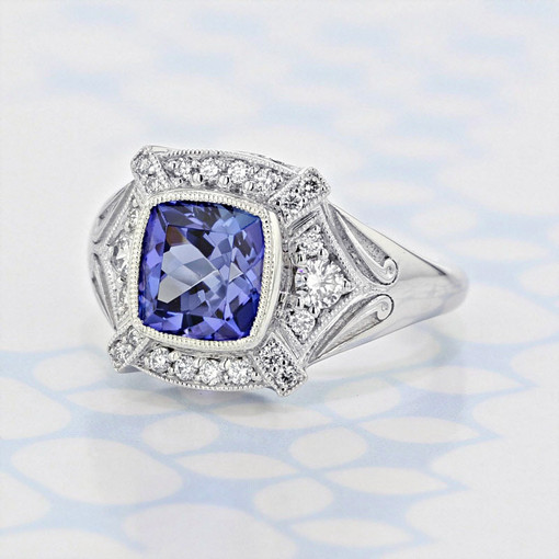 Custom Halo Cushion Shape Tanzanite Engagement Ring (6001550)