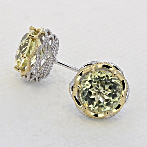 Crescent Crown Lemon Quartz Fashion Earrings  (SE105Y07)