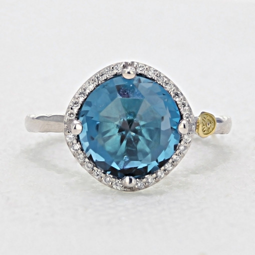Gemma Bloom Pavé London Blue Topaz Fashion Ring (SR14533)