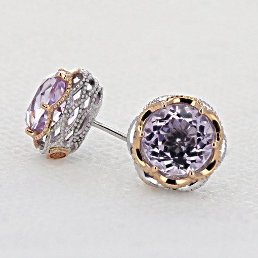 Crescent Crown Rose Amethyst Fashion Earrings (SE105P13)