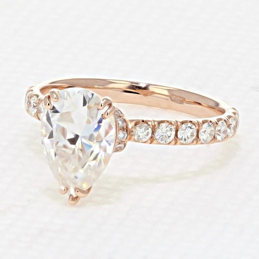 Rose Gold Micro-Prong Moissanite Engagement Ring (CR198R-M)