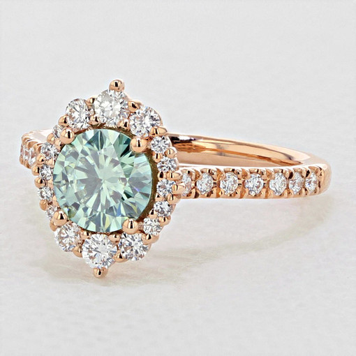 Rose Gold Moissanite Halo Engagement Ring (EV25)