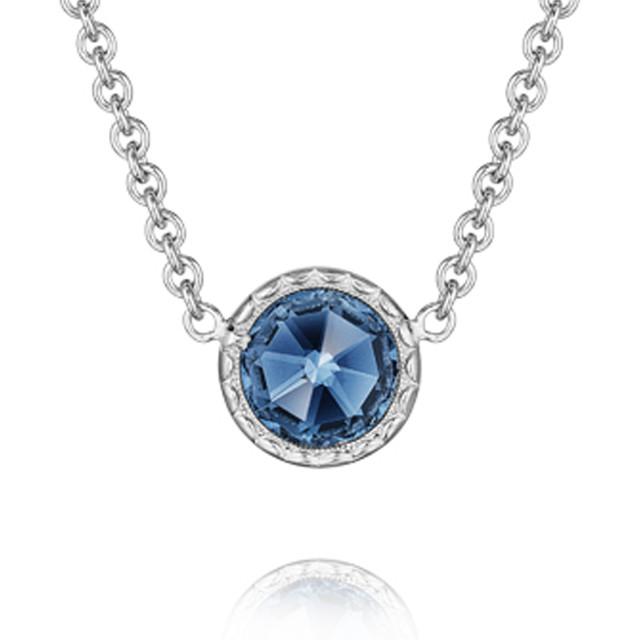 Crescent Embrace Petite London Blue Topaz Fashion Necklace (SN15433)