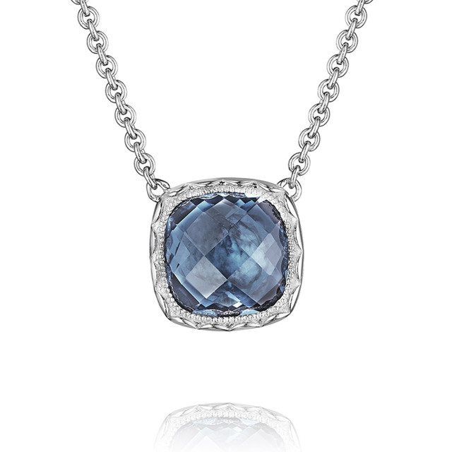 Crescent Embrace London Blue Topaz Fashion Necklace (SN23233)