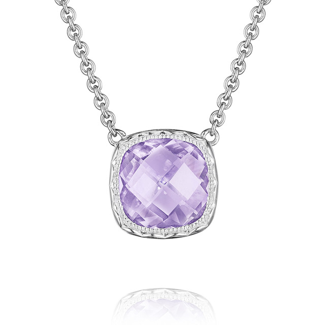 Crescent Embrace Rose Amethyst Fashion Necklace (SN23213)